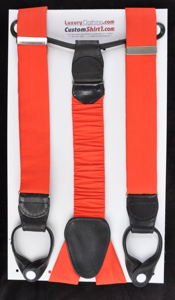 SAMPLE-Only One Available: Kabbaz-Kelly Handmade Braces - Red Silk & Black Leather