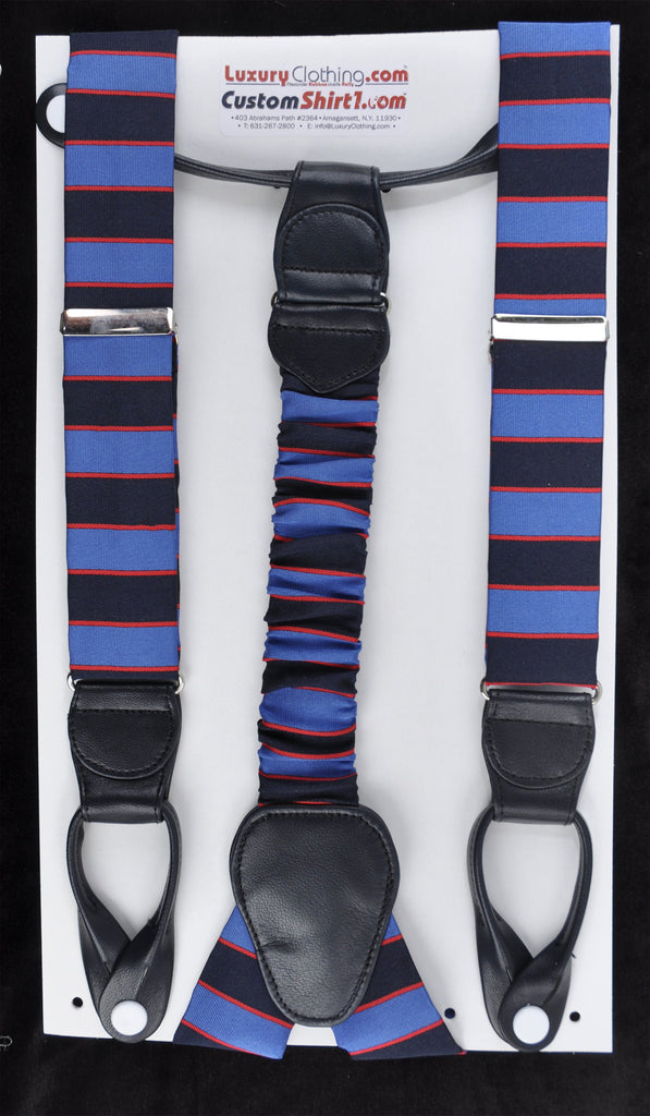 SAMPLE-Only One Available: Kabbaz-Kelly Handmade Braces - Blue Navy Red Regimental & Black Leather
