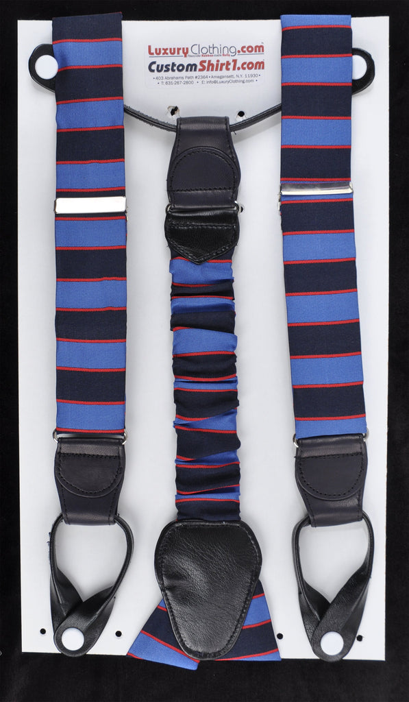 SAMPLE-Only One Available: Kabbaz-Kelly Handmade Braces - Blue Navy Red Regimental & Navy Leather