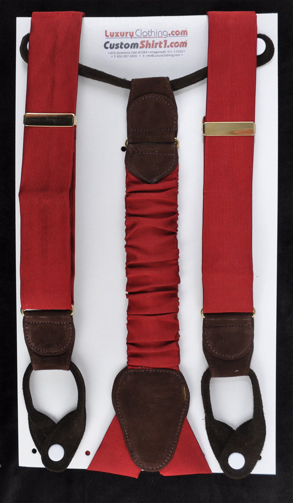 SAMPLE-Only One Available: Kabbaz-Kelly Handmade Braces - Burgundy Silk Faiille & Brown Suede
