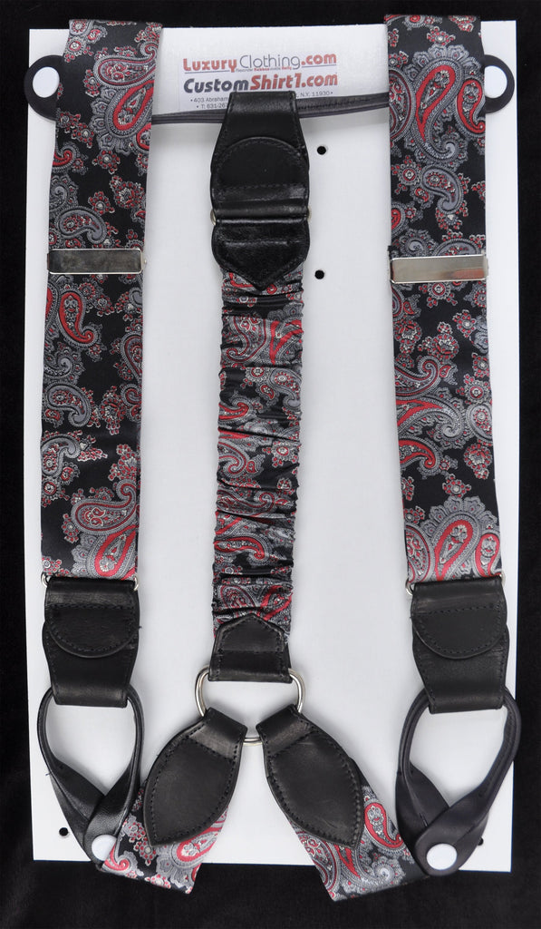 SAMPLE-Only One Available: Kabbaz-Kelly Handmade Braces - Black with Silver/Red Paisley & Black Leather