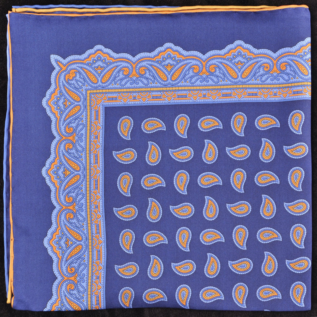 Pure Italian Silk Hand Rolled Pocket Square - Navy/Blue Paisley
