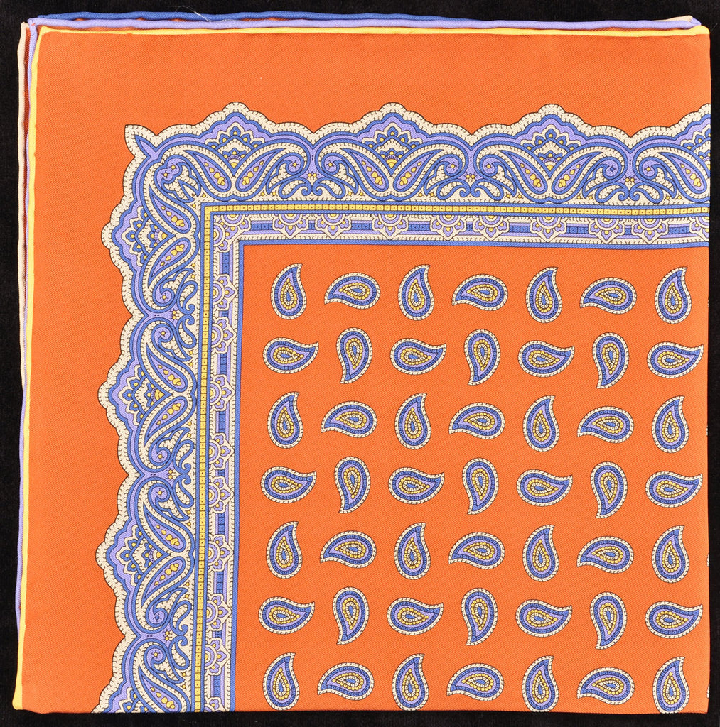 Pure Italian Silk Hand Rolled Pocket Square - Copper/Blue Paisley