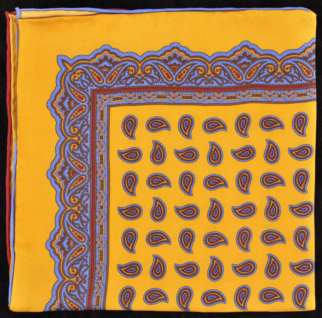 Pure Italian Silk Hand Rolled Pocket Square - Gold/Blue Paisley