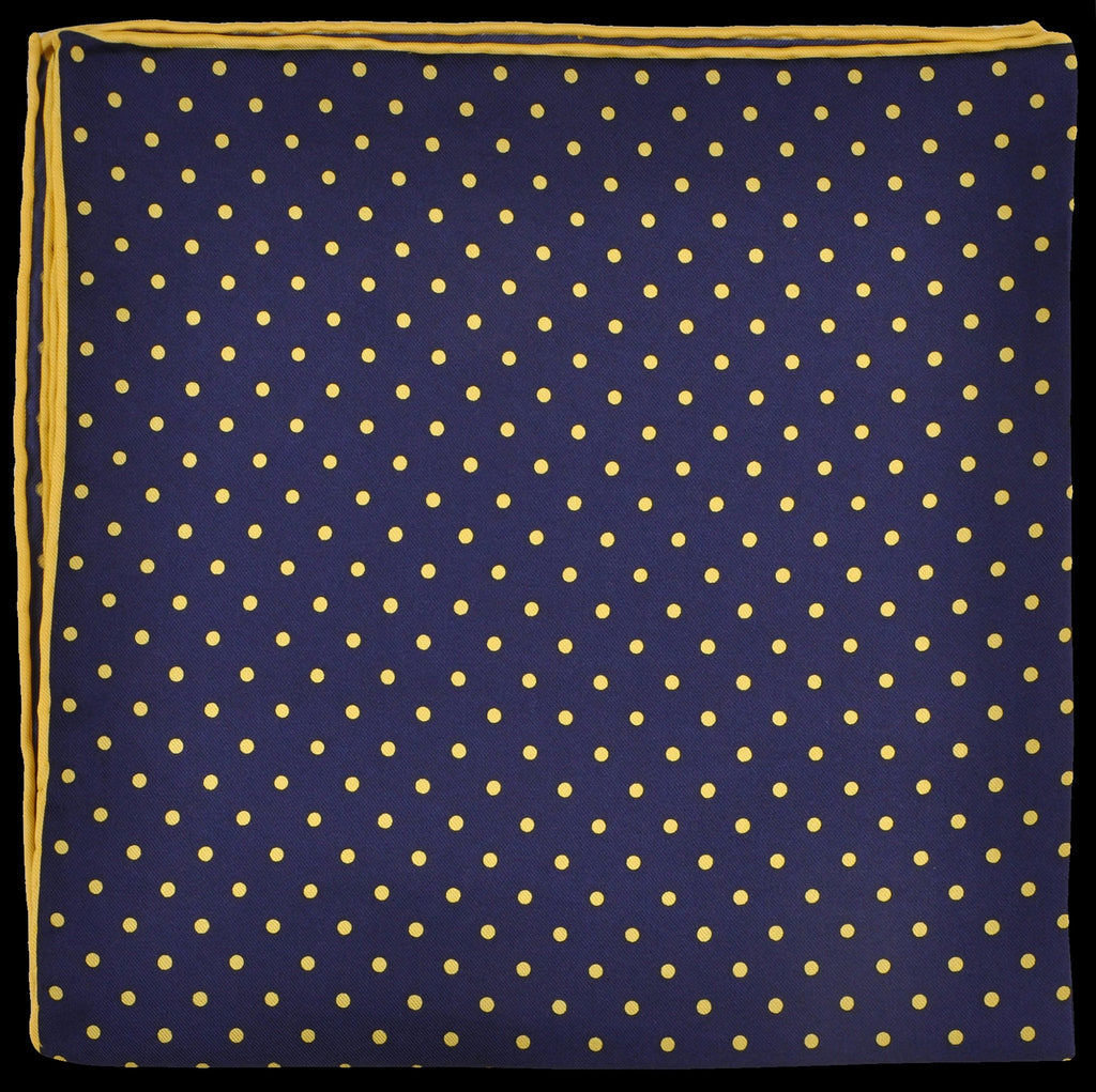 Pure Italian Silk Hand Rolled Pocket Square - Navy/Yellow Dots
