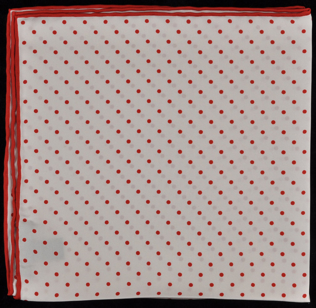Pure Italian Silk Hand Rolled Pocket Square - White/Red Dots