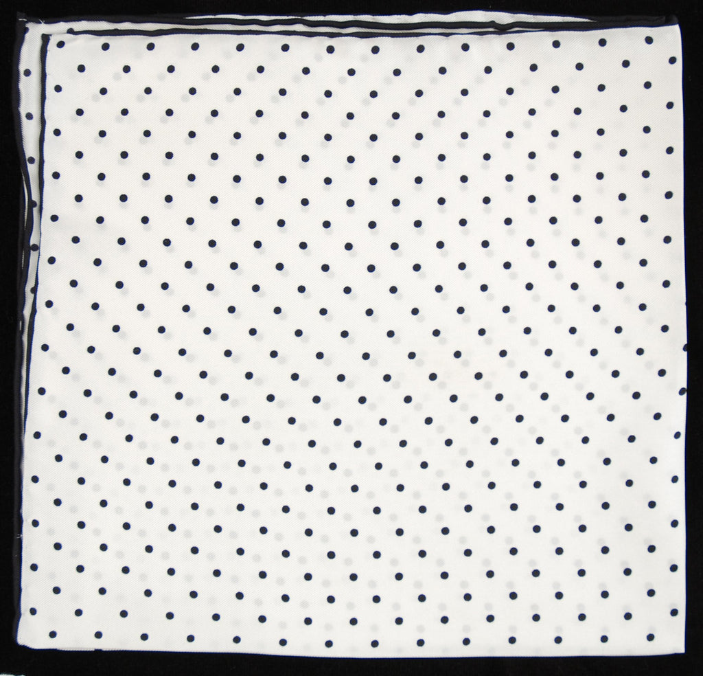 Pure Italian Silk Hand Rolled Pocket Square - White/Black Dots