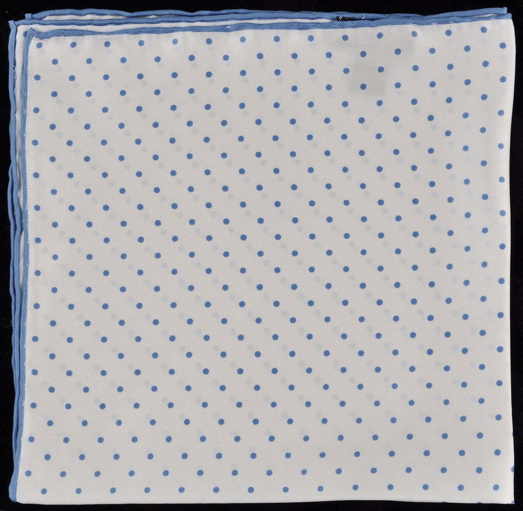 Pure Italian Silk Hand Rolled Pocket Square - White/Blue Dots