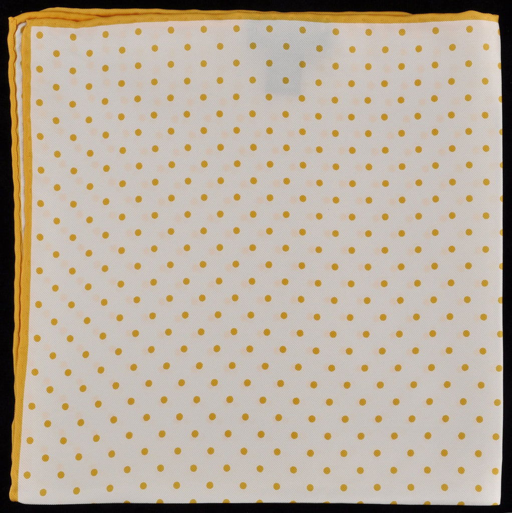 Pure Italian Silk Hand Rolled Pocket Square - White/Gold Dots
