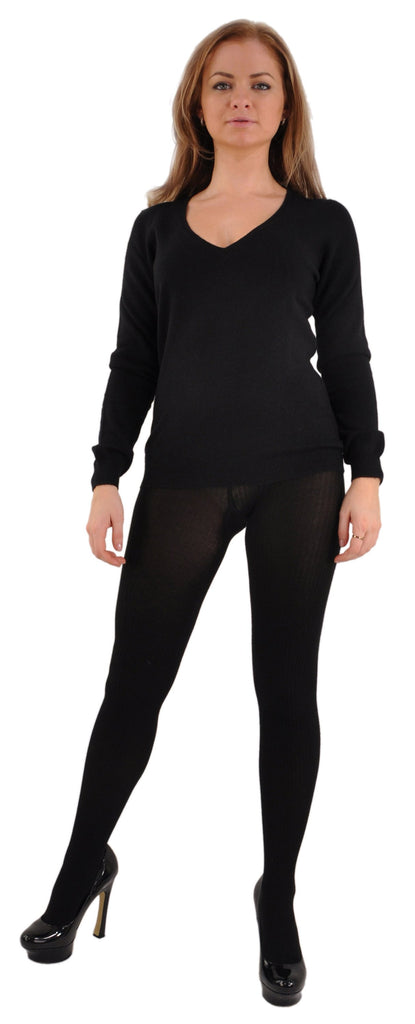 Black with Black Bresciani CashmereSilk Tights