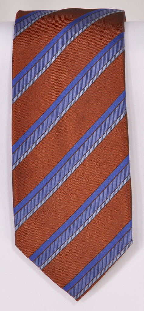 Classic Kabbaz-Kelly Exclusive Limited Edition: Brown Stripe Handmade Italian Silk Necktie