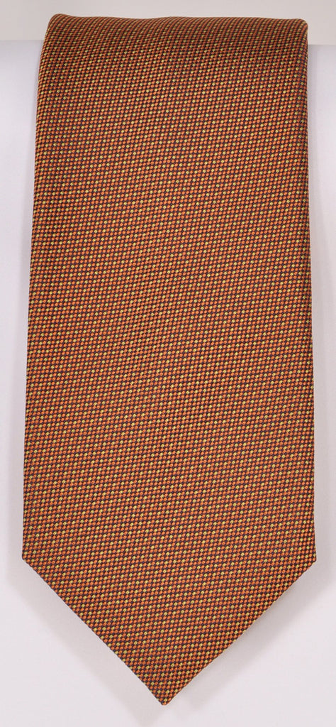 Classic Kabbaz-Kelly Exclusive Limited Edition: Burnt Orange Neat Handmade Italian Silk Necktie
