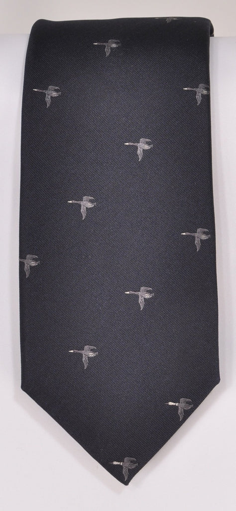 Classic Kabbaz-Kelly Exclusive Limited Edition: Mallord Silver Print Handmade Italian Silk Necktie