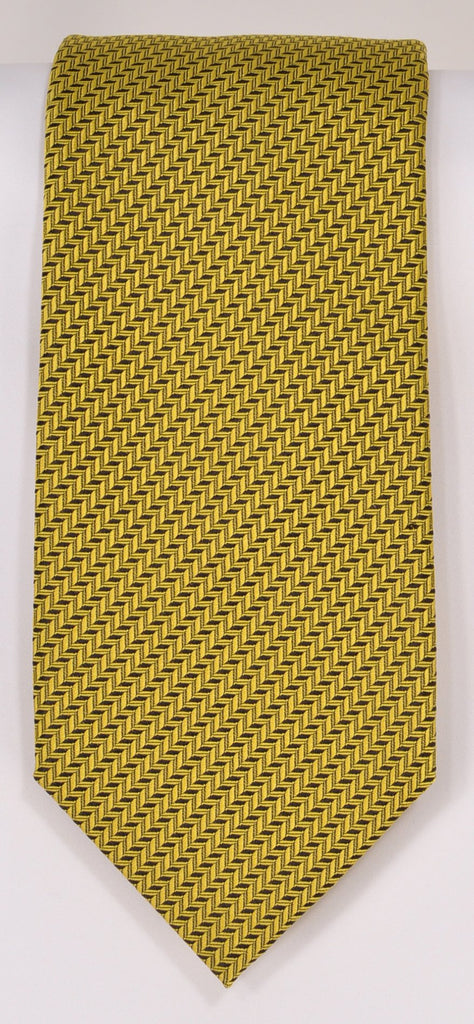 Classic Kabbaz-Kelly Exclusive Limited Edition: Yellow Solid Handmade Italian Silk Necktie