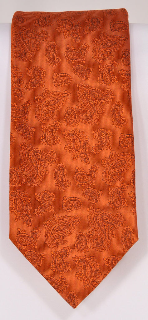 Classic Kabbaz-Kelly Exclusive Limited Edition: Orange Solid Handmade Italian Silk Necktie