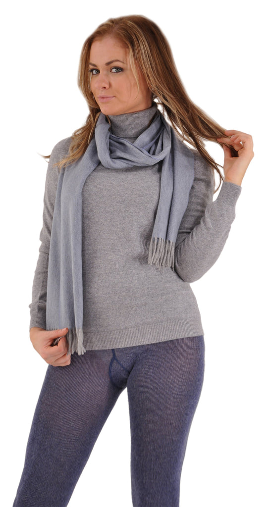 Denim with Gran Sasso Flannel Grey Cashmere Turtleneck and Pria Cashmere Scarf