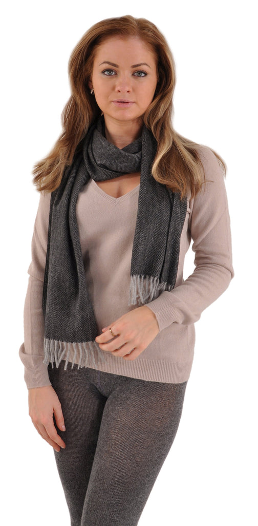 Flannel Grey with Gran Sasso San Cashmere V-Neck and Pria Cashmere Scarf