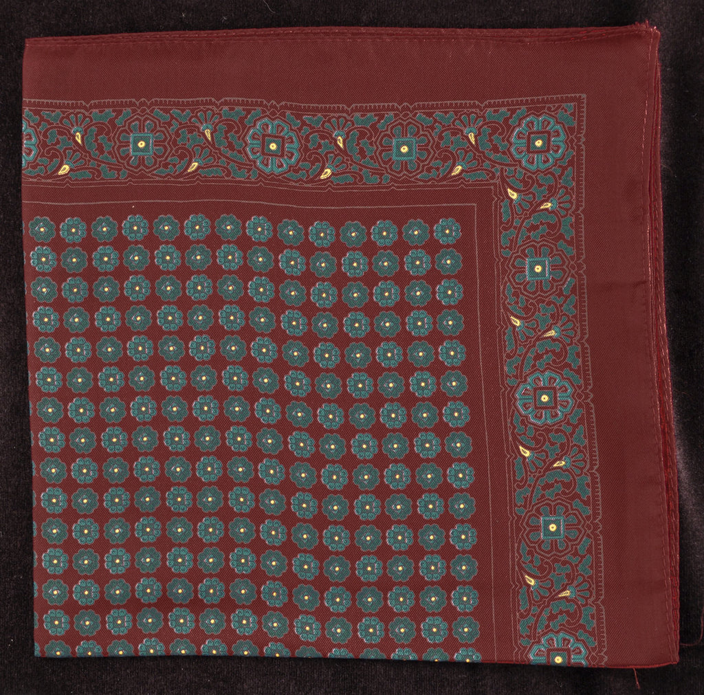 Antique Macclesfield English Silk Pocket Square - Large Wine Flower