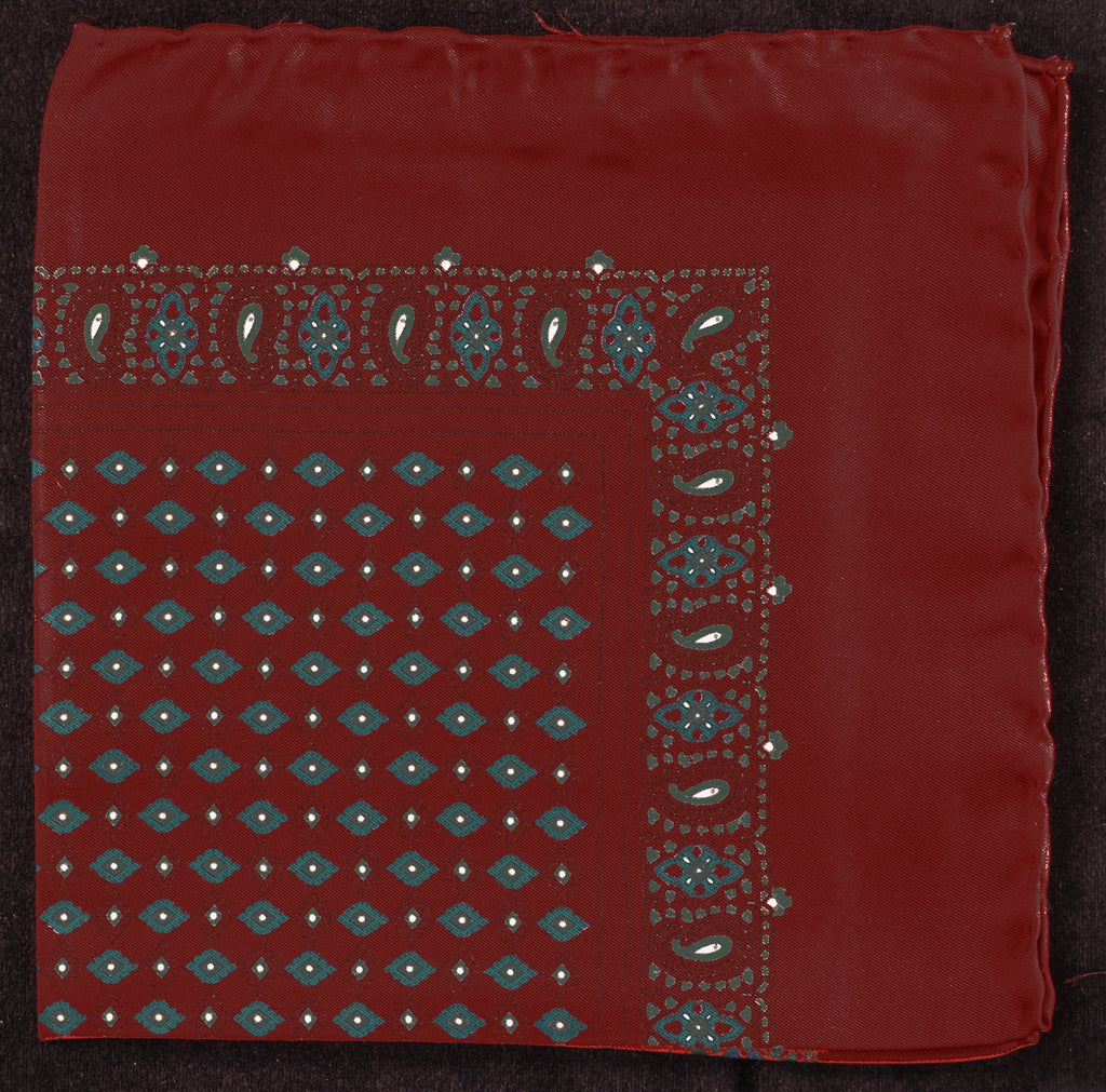 Antique Macclesfield English Silk Pocket Square - Wine Diamond