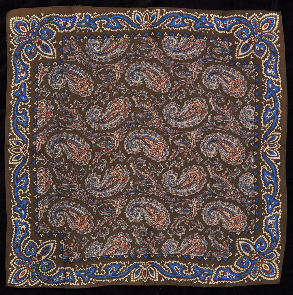 Antique Macclesfield English Silk Pocket Square - Brown Paisley