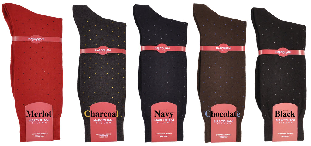 Merino Mid-Calf Pin Dot Dress Socks