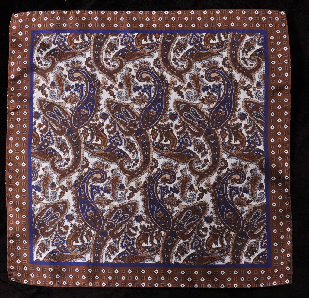 A.Kabbaz-J.Kelly Hand Rolled Italian Silk Pocket Square - Brown Paisley 102