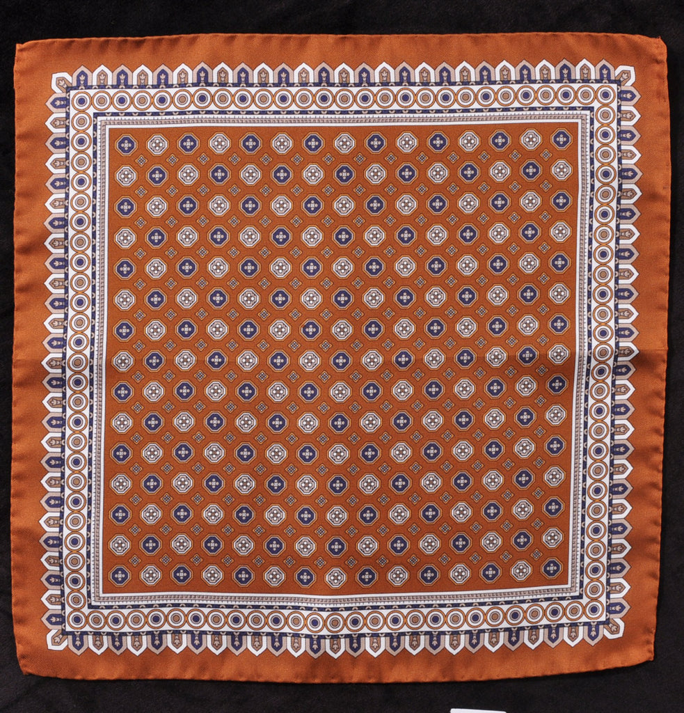 A.Kabbaz-J.Kelly Hand Rolled Italian Silk Pocket Square - Copper-Brown 109