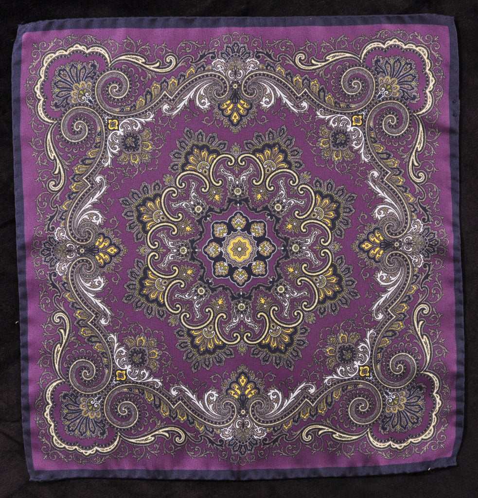 A.Kabbaz-J.Kelly Hand Rolled Italian Silk Pocket Square - Purple Abstract 110