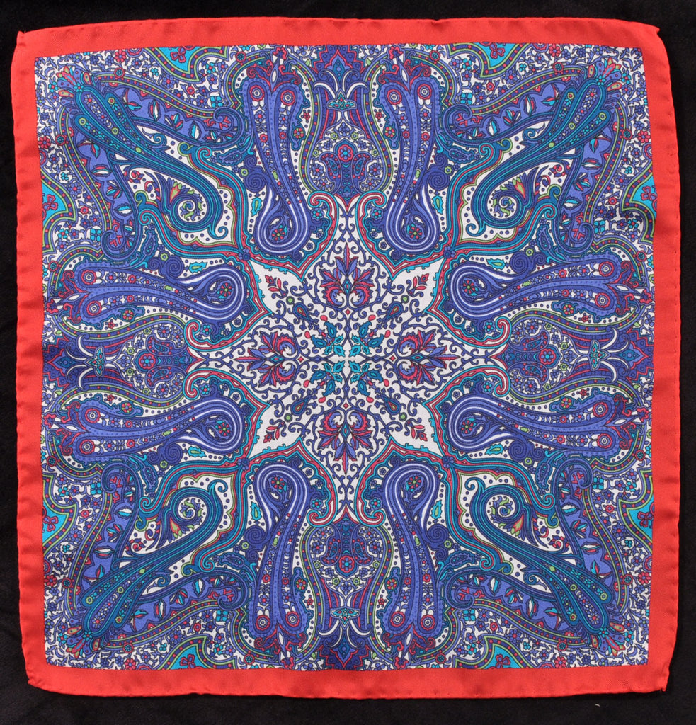 A.Kabbaz-J.Kelly Hand Rolled Italian Silk Pocket Square - Red-Blue Abstract 111