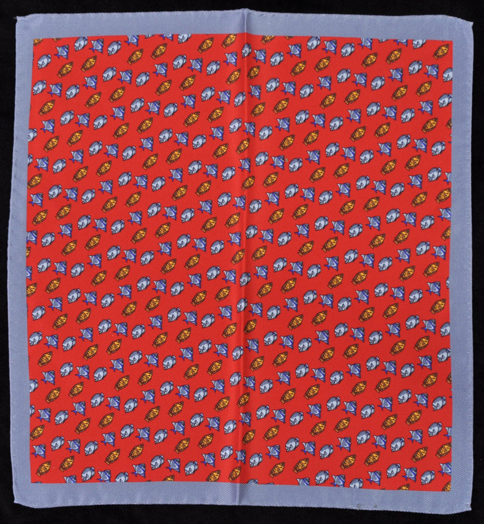 A.Kabbaz-J.Kelly Hand Rolled Italian Silk Pocket Square - Red Fish 115