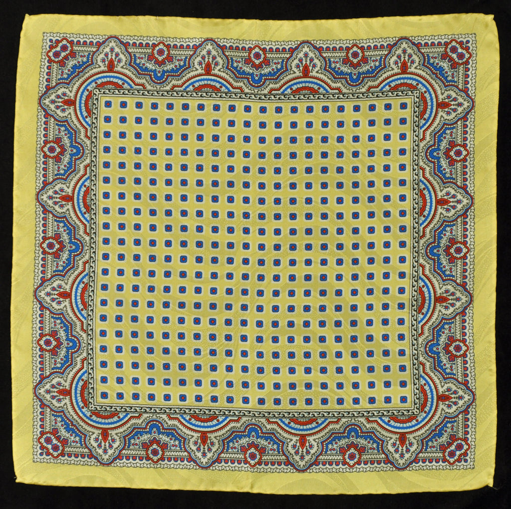 A.Kabbaz-J.Kelly Hand Rolled Italian Silk Pocket Square - Yellow Ornament 118