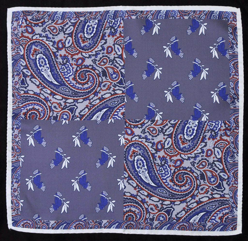 A.Kabbaz-J.Kelly Hand Rolled Italian Silk Pocket Square - Paisley and Parrots in Greys 120