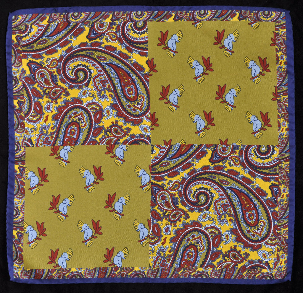 A.Kabbaz-J.Kelly Hand Rolled Italian Silk Pocket Square - Paisley and Parrots in Gold 121
