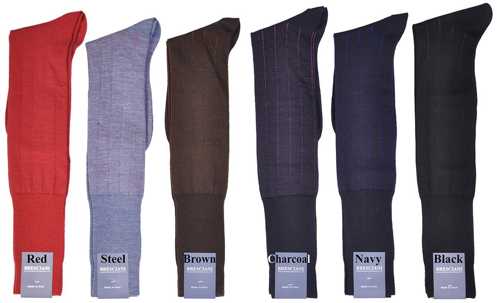 Essential ExtraFine Merino Pinstripe Over-the-Calf Dress Socks