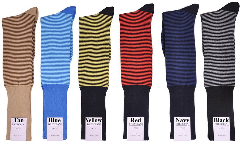 Palio Horizontal Dress Stripe Over-the-Calf Cotton Socks