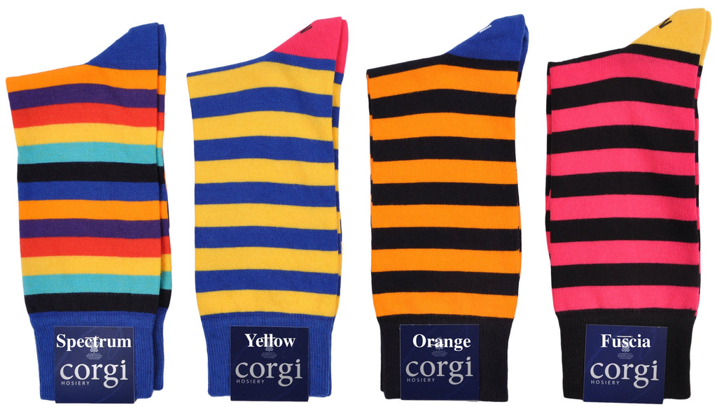 Bold Colorful Block Stripe Mid-Calf Socks