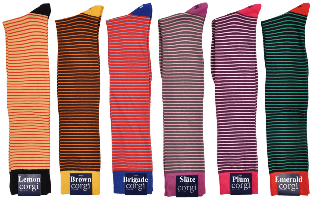 Limited Edition Alexander Kabbaz Exclusive Design Over-the-Calf Cotton Dress Stripe Socks