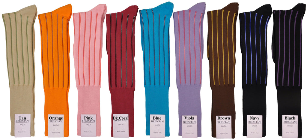 Alta Doppio Vertical Stripe Over-the-Calf Cotton Socks