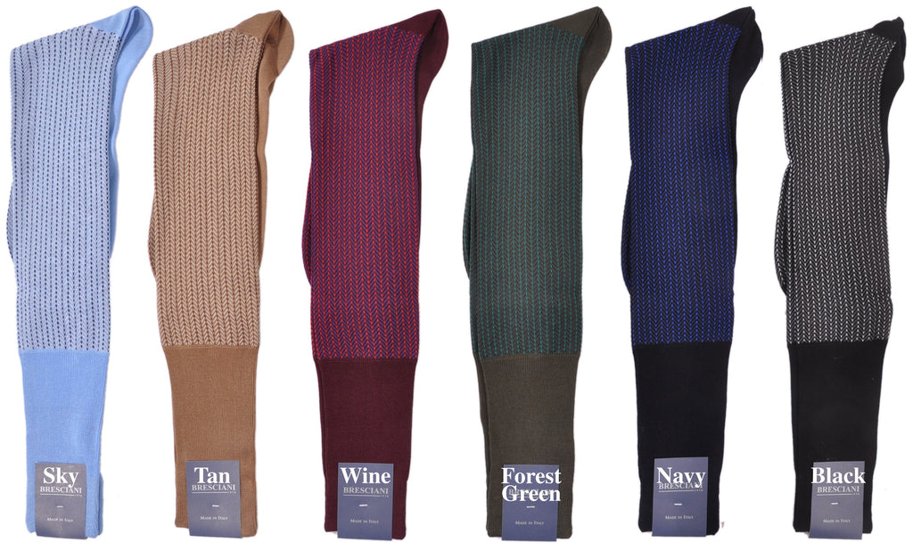 Park Avenue Herringbone Over-the-Calf Cotton Socks
