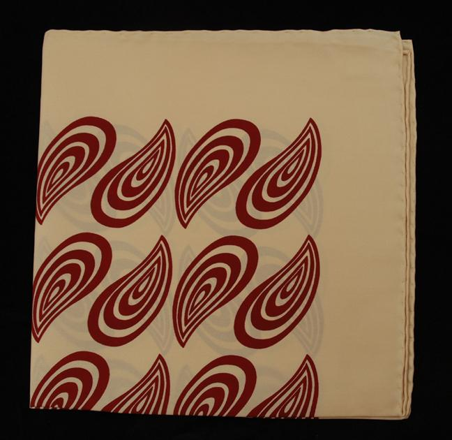 Hand Rolled English Silk Pocket Square - Tan & Wine Paisley