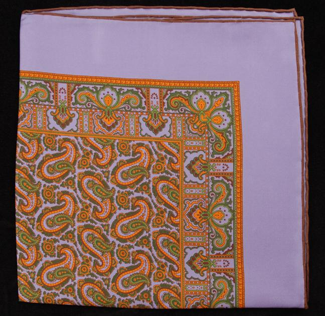 Hand Rolled English Silk Pocket Square - Lilac Paisley