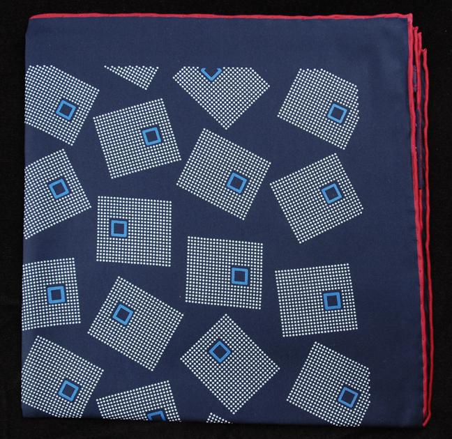 Hand Rolled English Silk Pocket Square - Blue Squares