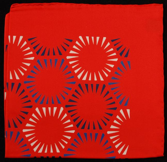 Hand Rolled English Silk Pocket Square - Red Starburst