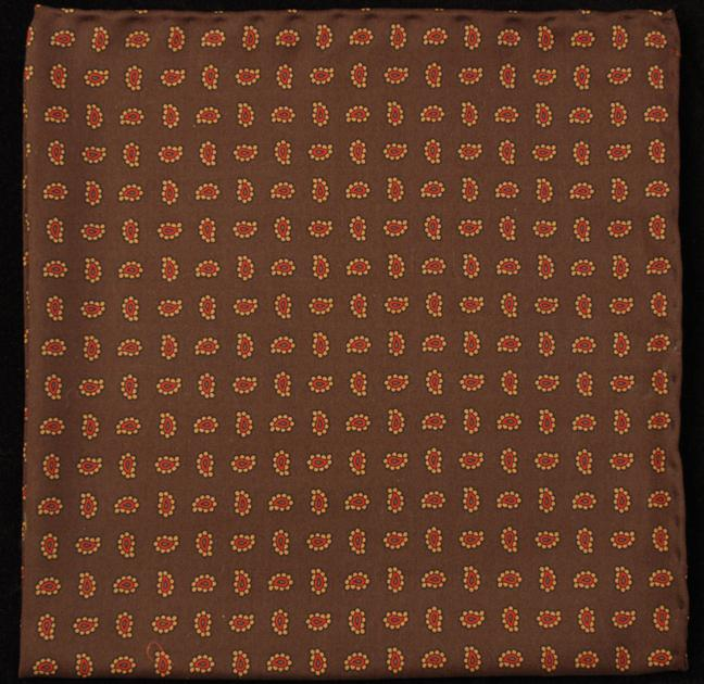 Hand Rolled English Silk Pocket Square - Brown Paisley