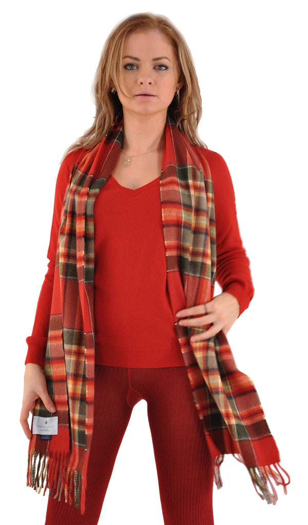 Garnet with Merlot Gran Sasso Cashmere V-Neck Sweater and Begg Scarf