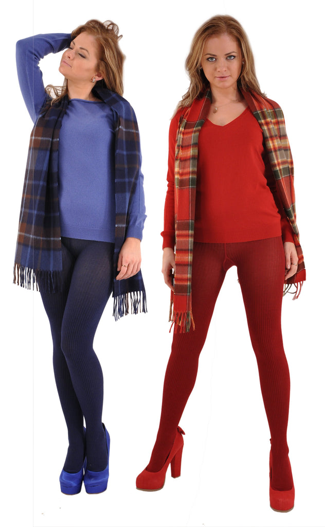Garnet with Gran Sasso Cashmere Lapis and Merlot Sweaters and Begg Scarves