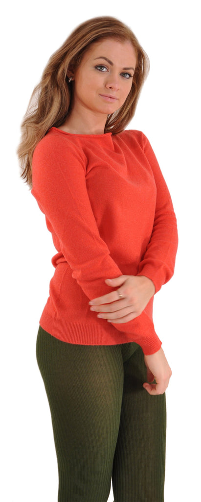 Musk with Coral Red Gran Sasso Cashmere BoatNeck Sweater