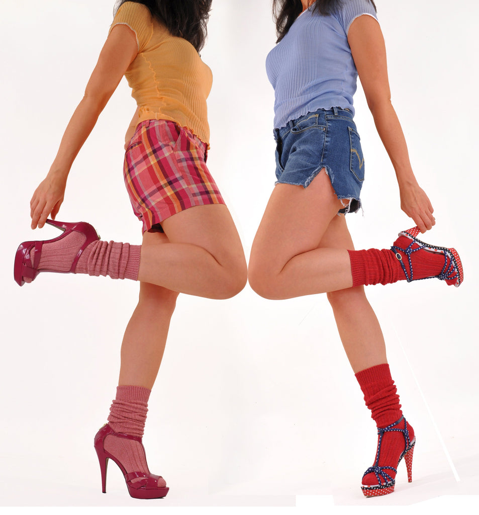Hot Colors! Socks with Heels - Summer Pink and Scarlet Red
