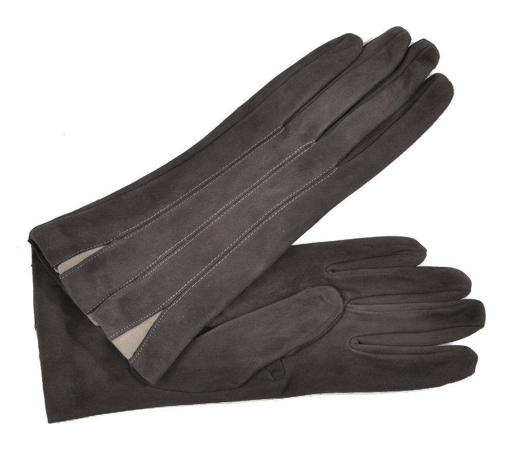 Women's Grey Suede Silk-lined Gloves with Pearl Grey Insets