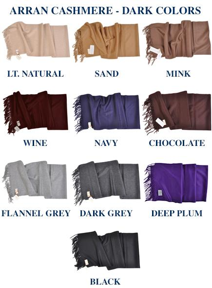 "Throw: Begg 58""x72"" Cashmere Throw Blanket from Scotland-Dark Colors"